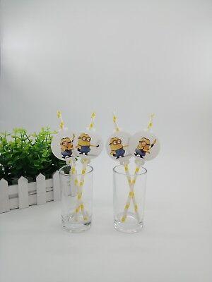 12pcs Minions Straws Party Supplies Decoration Biodegradable Paper Tube ()