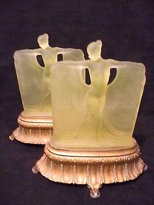 PAIR (2) McKEE GLASS COMPANY Danse de Lumière YELLOW Art Deco BOUDOIR LAMPS