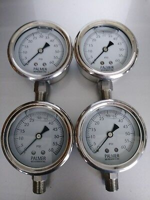 Palmer Liquid Filled 60 Lb Pressure Gauge Combo 4 Pack