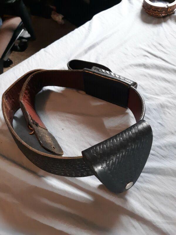 Vintage Police Black Leather Belt Safety Speed Holster Size 30