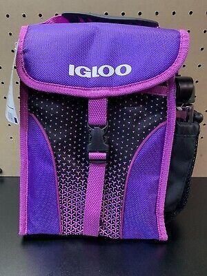 New IGLOO Purple Cooler Lunch Bag With BPA Free 16 OZ Chug Bottle