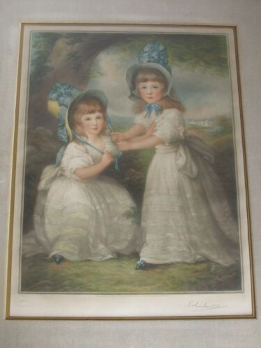 Antique frost and Reed Mezzotint Portrait Print of Twin Sister