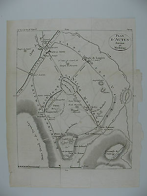 Original Engraved Map of Autun, 1808