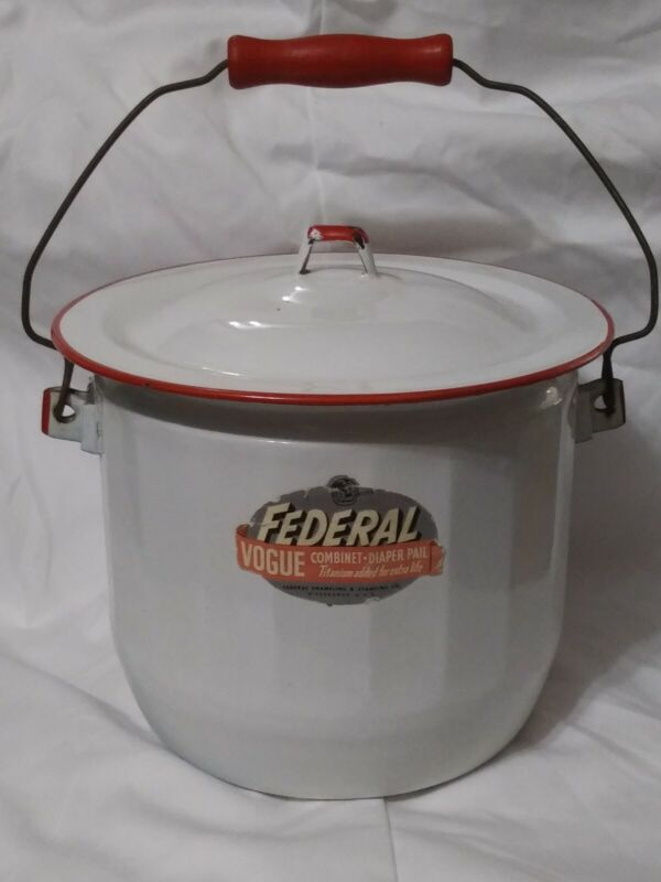 Vintage Federal Enamelware Diaper Pail Chamber Pot Red White With Original Label