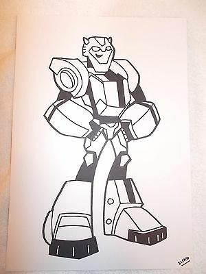 A4 Black Ink Marker Pen Sketch Transformers Animated Bumblebee