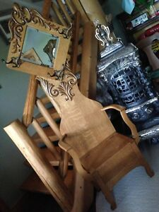 Antique Oak Hall Seat