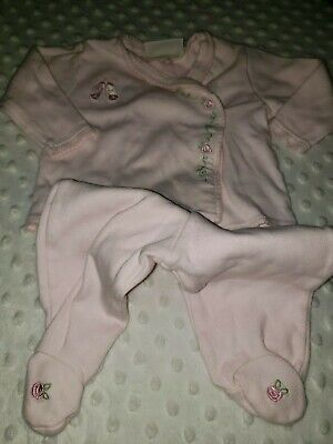 Ballerina Baby Girl 2 piece set  outfit pink with roses coming home footed E24
