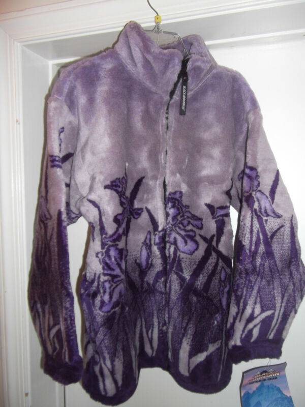 Women's Thick Fleece Jacket Small Lavender & Purple Garden Themed