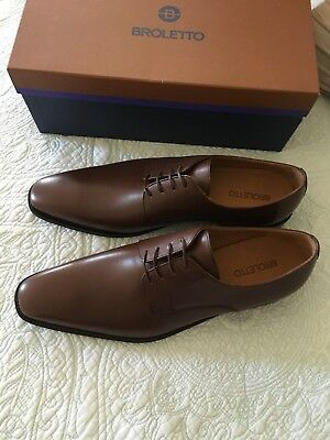 bc2e337a4d6 Broletto Men s David Derby Brown Leather Lace-up Oxford Size 10 New In Box