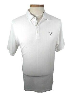 New VERSACE V LOGO DESIGNER FASHION POLO SHIRT Short Sleeve Mens White XL size