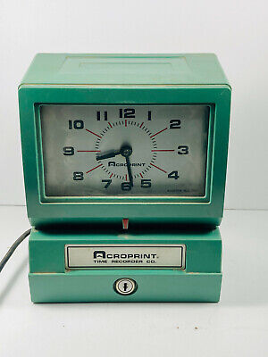 Vintage Acroprint 150nr4 Punch Time Clock Office Decor Nice Clock Works No Keys