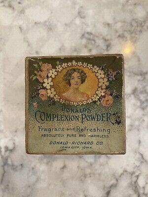 Vintage Face Powder Box DONALD'S Complexion Powder Iowa City 1920's Flapper
