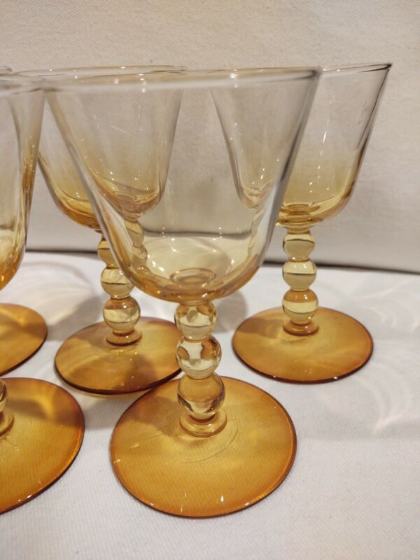 Set 6 Vintage Yellow Wine Glasses