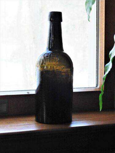 19th C. Whittled Dark Olive Black Glass Beer Ale Wine Bottle Embossed Crown