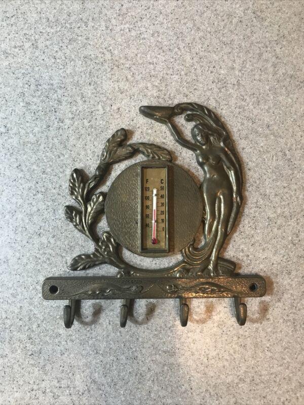 Vintage Art Nouveau Brass Ornate Lady Wall Thermometer Key Hook