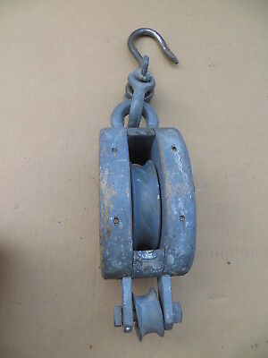 Pulley Shackle - Block & Tackle Single Pulley W/ Shackle & Hook  Navy Gray Nautical / Barn / Mill