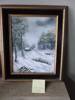 Original Oil Painting Pat Fleuri-Champ BeautifulSnow Scene/wood frame -