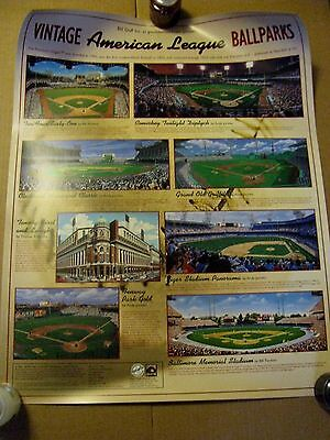 VINTAGE AMERICAN LEAGUE BALLPARKS POSTER FROM BILL GOFF'S GOOD SPORTS ART