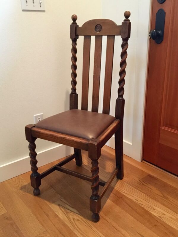 Antique English Solid Oak Wood Chairs set of four
