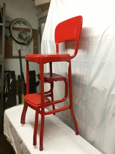 Vtg rustic Steel  Cosco 3  Step Stool Kitchen Painted Coke Red  Country Cottage