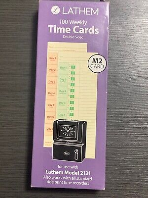 Three Boxes Lathem Weekly Time Cards Double-sided Model 2121side-print Time