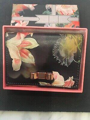 Ted Baker Floral Leather Card Holder Black Bi-fold Mirror Card Case Wallet ATED Baker Bi Fold Wallet