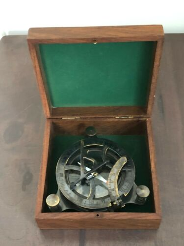 Vintage West London Brass Sundial Compass Nautical Decorative with Wooden Box