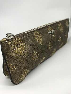 Rare Vintage Authentic Prada Metallic Brocade Silk Large Clutch Handbag Italy
