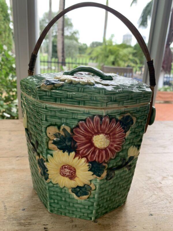 Vintage Handpainted Cookie Biscuit Jar Green Floral Wicker Basket & Handle Japan