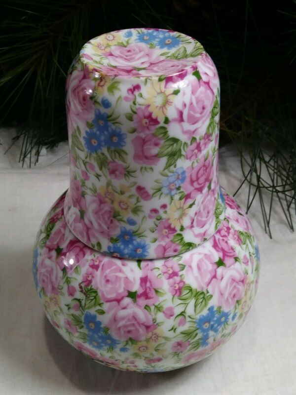 VINTAGE Flowers Chintz Pattern~Bedside Bottle Carafe Decanter and Cup~FREE SHIP