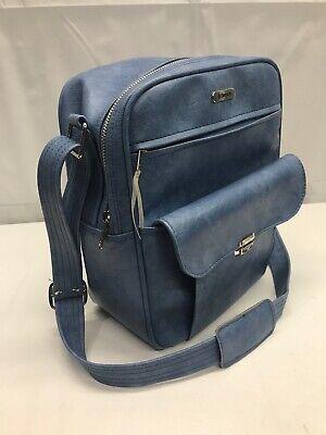 Vintage Blue VINYL Samsonite Sonora Zippered Overnight Bag Carry On Shoulder Bag