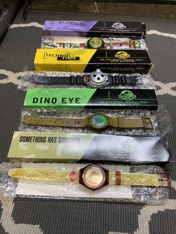 NEW‼ Lot of 4‼ 1997 Lost World Jurassic Park Watch Burger King • COMPLETE SET‼
