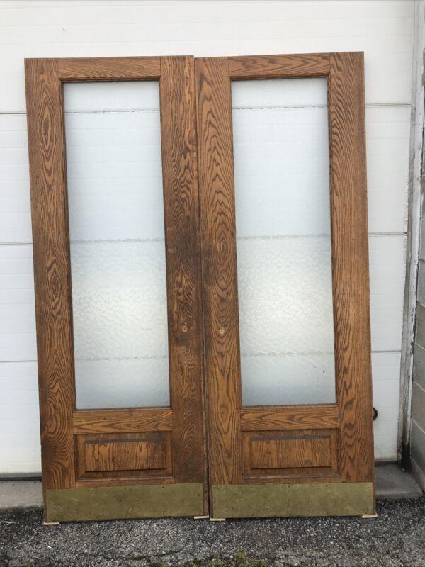 Mark Jan 11 01 Pair Antique Oak Textured Glass Doors 60.5 X 83.5 X 1.75