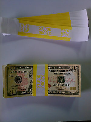 100 - New Self-sealing Currency Bands - 1000 Denomination - Straps Money Tens