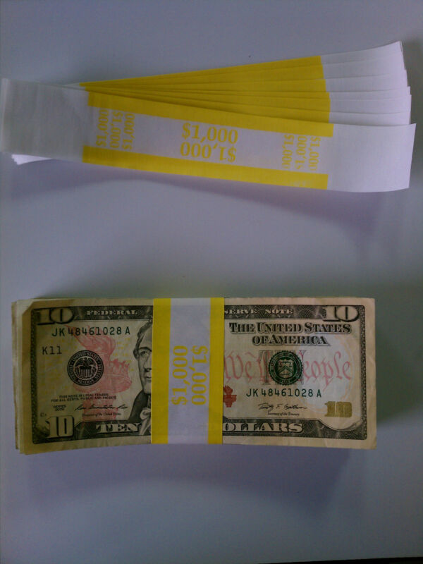 100 - New Self-Sealing Currency Bands - $1000 Denomination - Straps Money Tens