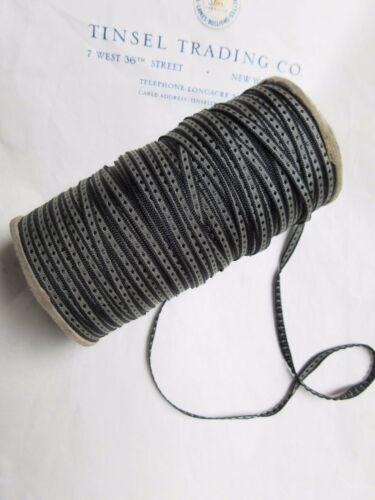 """8 Yards Vintage Tiny Rayon Blk/Gray Dot Ribbon Antique Doll 1/8"""" Lampshade"""