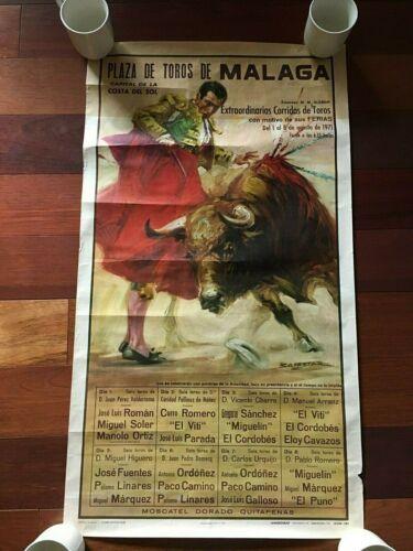 VTG 1969 BULLFIGHT POSTER PLAZA DE TOROS DE MALAGA PRINTED IN SPAIN ~LAMINOGRAF