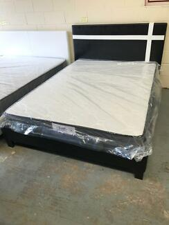 Brand new medium mattress and leather bed base double300queen330