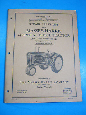 Massey Harris 44 Special Diesel Tractor Repair Parts List 1954 Manual Oem