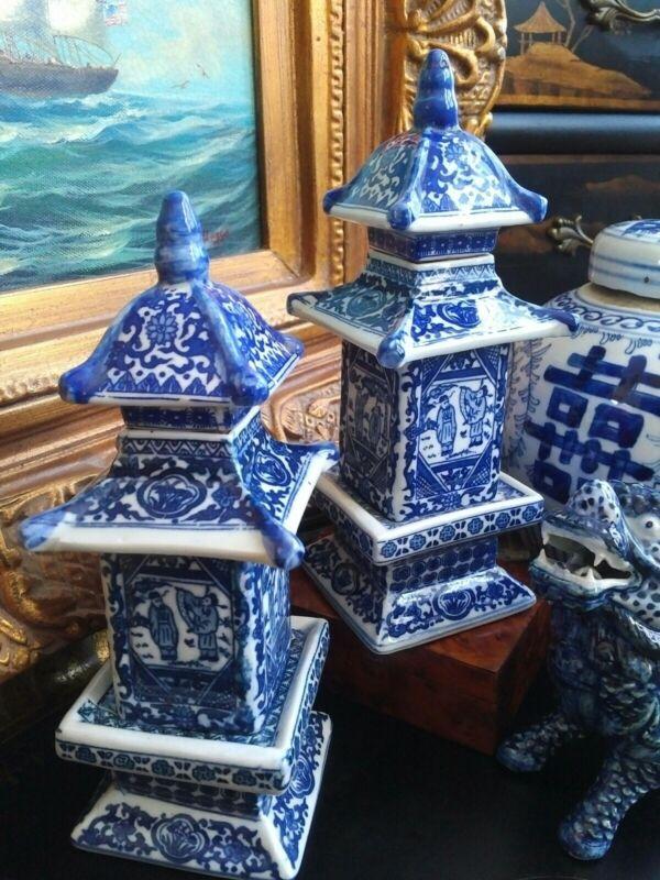 """Stunning Pair Blue White Porcelain Chinoiserie Pagoda Ginger Tea Jar Vase - 8"""""""