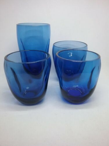 """4 RUSSEL WRIGHT """"PINCH""""  GLASSES, BLUE GLASS, VERY RARE COLOR, FREE SHIPPING!"""