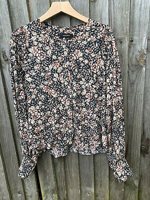 Isabel Marant beige/black silk blouse size 44 uk 14-16