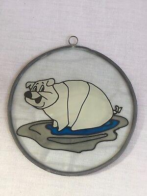 Cartoon Pig Colored Window SunCatcher Round 6 inches Diameter