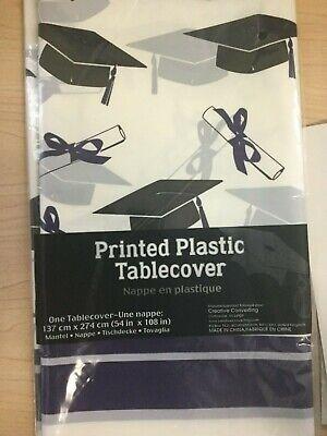 Graduation Tablecloth Table Cover Purple Plastic Decoration Favor Party Supplies
