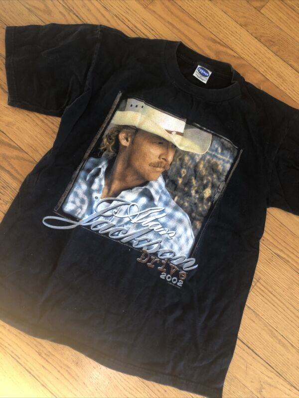 Nice Alan Jackson 2002 Drive Tour Black T-Shirt Size Medium Country 100% cotton