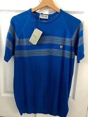 John Smedley Round Neck T Shirt/Jumper 100% Cotton Size Medium Statice Blue