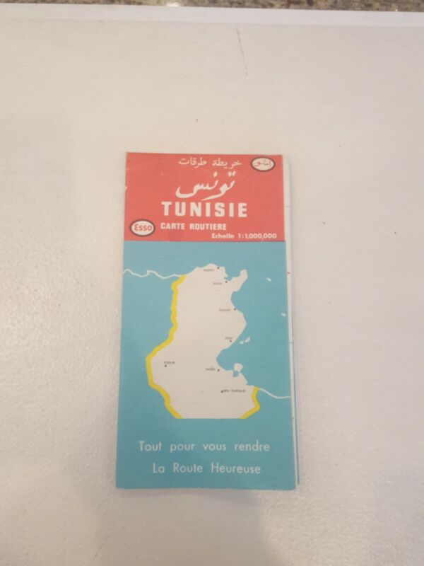 1954 Esso Road Map: Carte Routiere Tunisie - Echelle 1:1,000,000- Map of Tunis