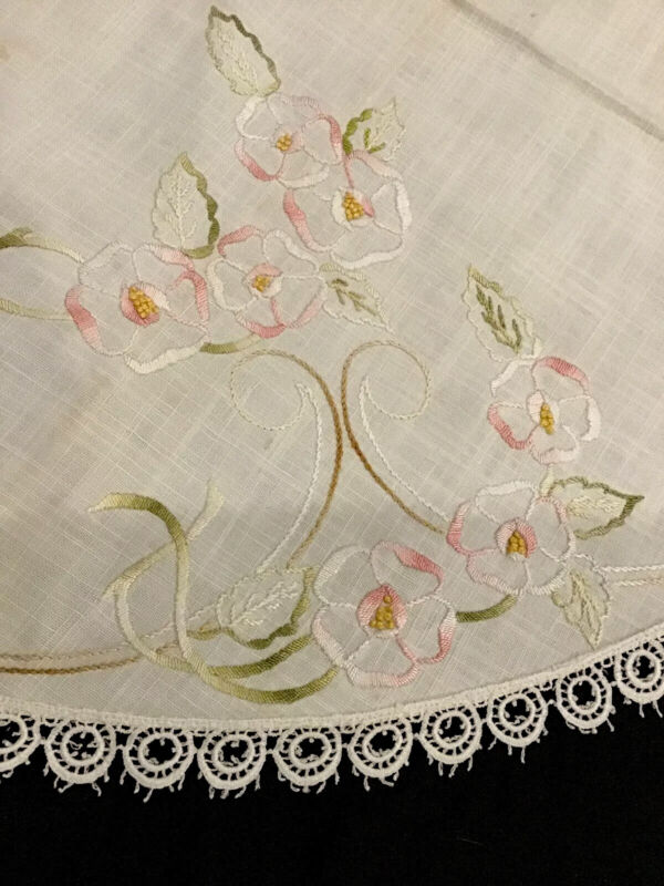 """Linen 32"""" Round Tablecloth With Beautiful Embroidered Flowers Lacy Trim"""