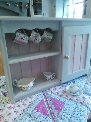 Vintage chic pine kitchen wall cabinet painted grey & pink