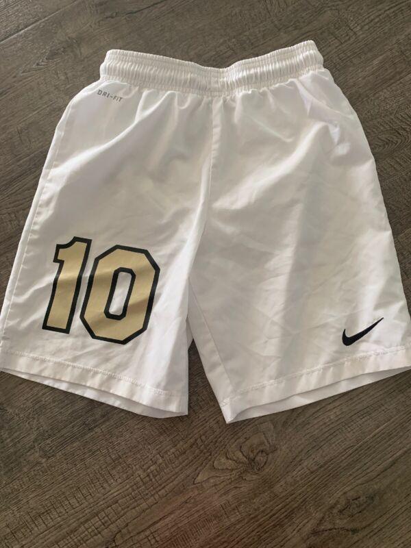 Youth Nike Drifit Soccer Shorts White Number 10 Size Medium